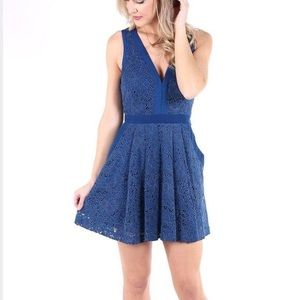 Free People Sleeveless  Lace Blue Mini Flare dress